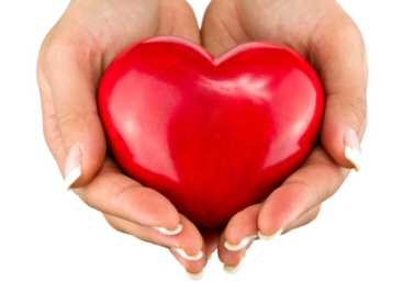 Heart shape held in the hands - blood pressure
