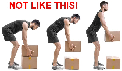 The incorrect way to lift a box