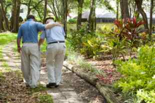 Elderly Gentleman Being Helped Along a Path