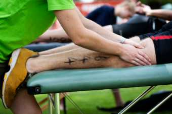 Sports massage at a sporting event